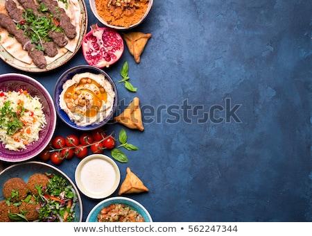 Arab étel hús zöldségek eszik paradicsom Stock fotó © zurijeta