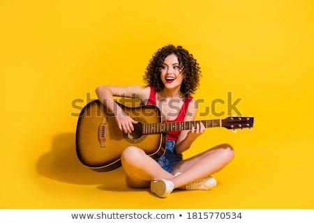 női · gitáros · graffiti · zene · fal · divat - stock fotó © photography33