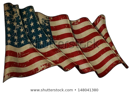 USA stars and stripes flag on old torn isolated paper. Stock photo © latent