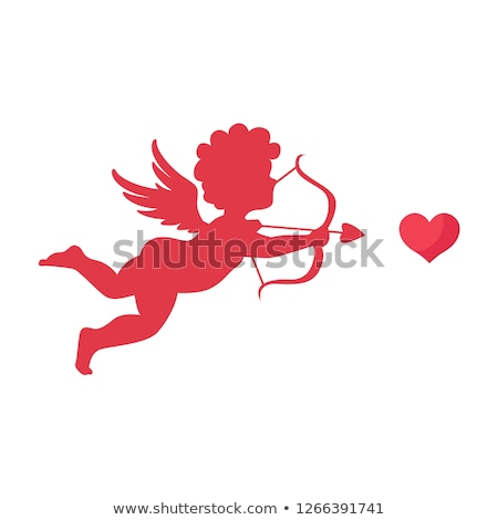 red heart with cupid silhouette stock photo © illustrart