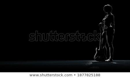 rock'çı · gitar · bacaklar · tam · uzunlukta · resim · genç - stok fotoğraf © feedough