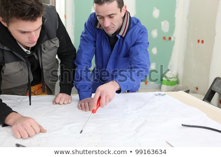 Twee mannen project bouw ontwerp potlood Stockfoto © photography33