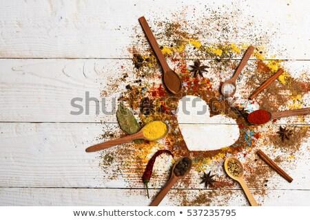 épices · variation · cuillère · semences · photographie · sel - photo stock © tannjuska