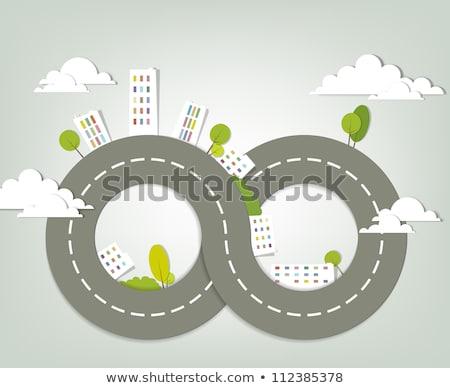 дорожный · знак · форма · домах · дорожных · знаков · зеленый · желтый - Сток-фото © tashatuvango