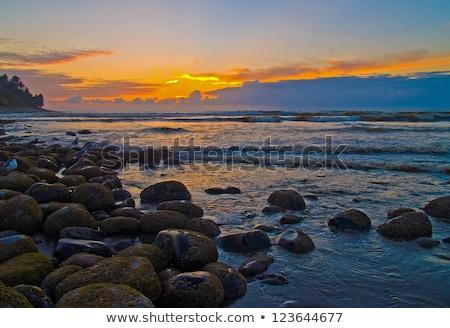 Fiery Sunset at a Rocky Beach on the Oregon Coast Stock photo © Frankljr