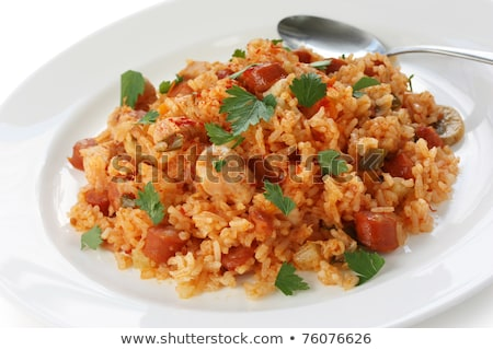 Stock photo: cajun jambalaya on white plate