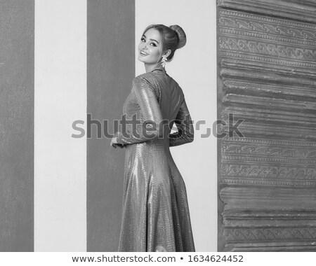 Foto stock: Retrato · cute · mujer · rubia · plata · de · moda