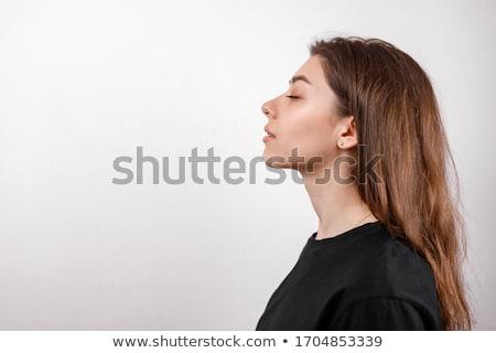 Oldalnézet lány gyermek háttér festmény gyerek Stock fotó © zzve