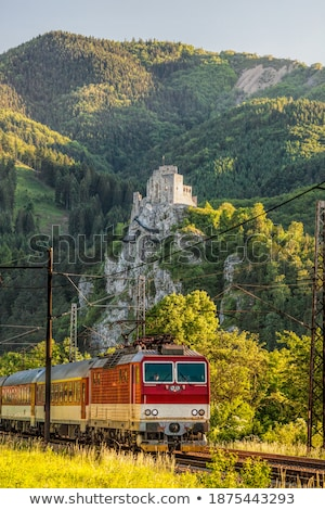 Freigh train with castle landscape Stock photo © ABBPhoto