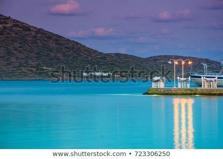 Outdoor pier cafe. Elounda, Crete Stock photo © dashapetrenko