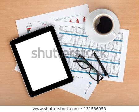 tabletta · képernyő · papírok · számok · táblázatok · jegyzettömb - stock fotó © karandaev