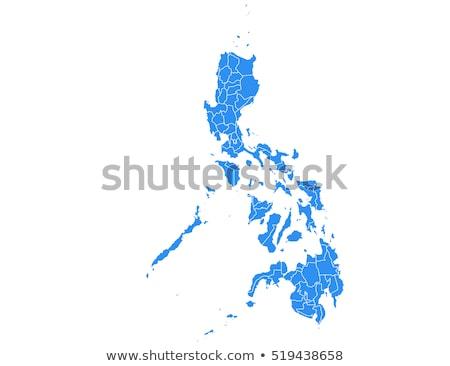 Filipinler harita idari şehir siluet ada Stok fotoğraf © Volina