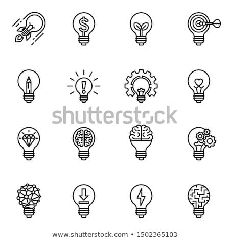 Сток-фото: икона · зеленый · головоломки · Идея · мозг