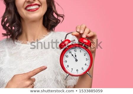 Bayan işaret çalar saat yarım görmek Stok fotoğraf © get4net