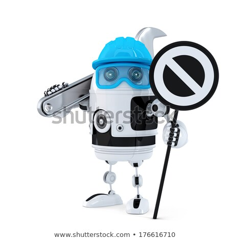 Robot construction worker with wrench and stop sign Stock photo © Kirill_M
