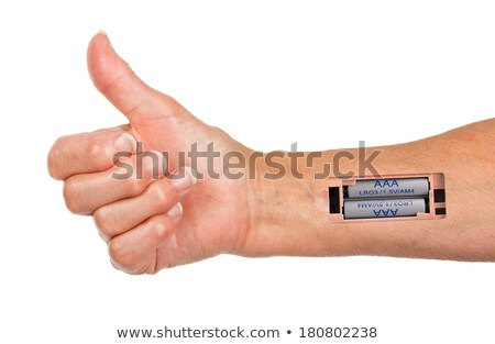 Stock photo: Robot - Insert the battery in the arm