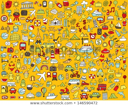 Stock photo: Big doodled transportation icons collection in colors