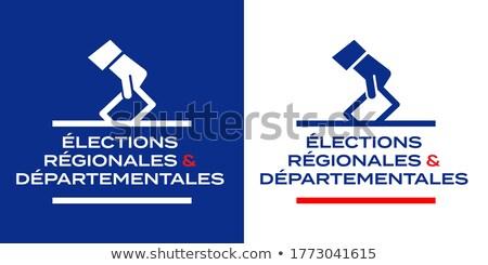 Verkiezingen Frankrijk portret politicus kaart vlag Stockfoto © xedos45