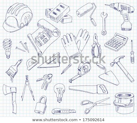 helmet, drawings and brick trowel Stock photo © flipfine