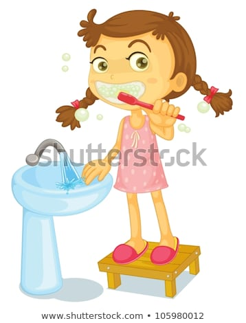 Sketch tooth paste, tooth brush and teeth, vector background Stock photo © kali