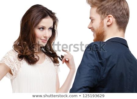 Bella donna guardando fidanzato bella guardare Foto d'archivio © stryjek