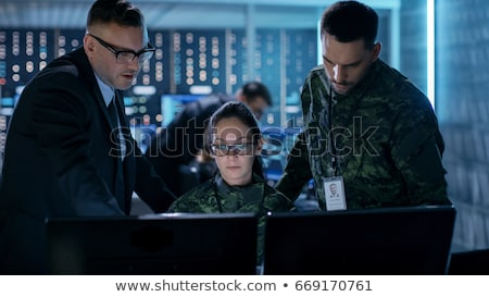 Сток-фото: Soldier Woman With Headset