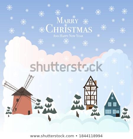 Happy Marry Christmas winter city postcard, vector illustration Stock photo © carodi