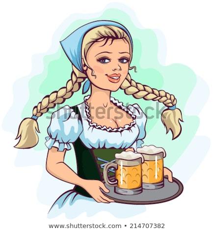 Oktoberfest girl waitress holds tray of beer Stock photo © orensila