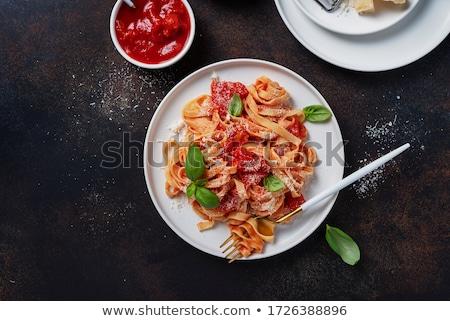 итальянский пасты тальятелле приготовленный овощей продовольствие Сток-фото © M-studio