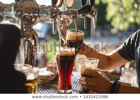cerveja · vermelho · garrafa · vidro · luz - foto stock © hofmeester