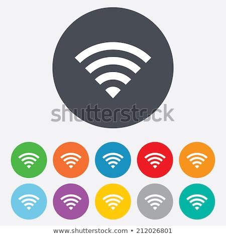 wifi icon blue green color stock photo © aliaksandra