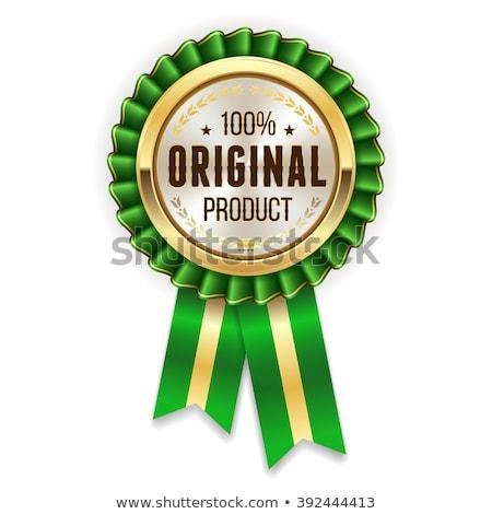 Genuíno produto verde vetor ícone botão Foto stock © rizwanali3d