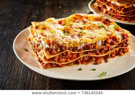 lasagne · vegetáriánus · pirított · fenyőfa · diók · olvad - stock fotó © m-studio
