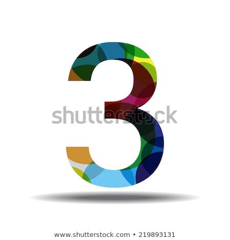 Stock photo: 3 Number Circular Vector Green Web Icon Button