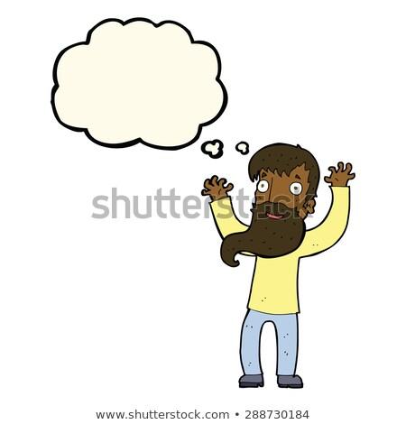 Cartoon excitado hombre barba burbuja de pensamiento mano Foto stock © lineartestpilot