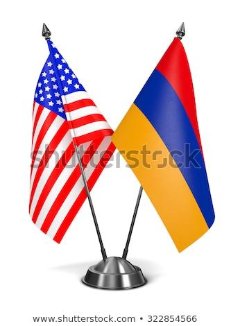 ABD Ermenistan minyatür bayraklar yalıtılmış beyaz Stok fotoğraf © tashatuvango