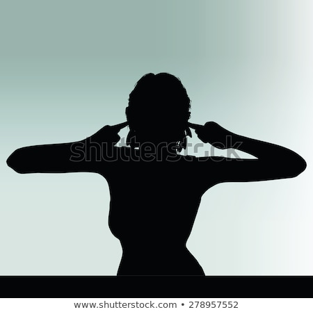 woman silhouette with hand gesture turn a deaf ear Stock photo © Istanbul2009