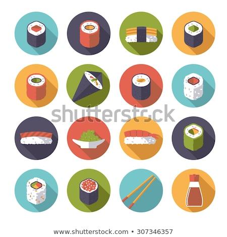 Stock photo: Flat Sushi Rolls Circle Icons Set