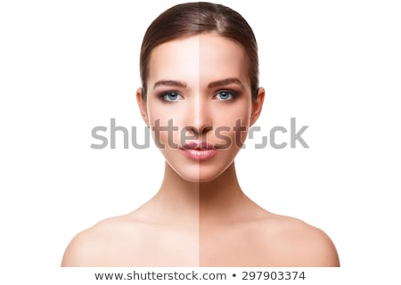Gyönyörű nő fél arc lebarnult szépség egészség Stock fotó © dolgachov