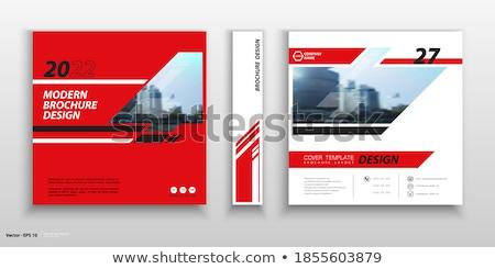 office work square vector red icon design set stock photo © rizwanali3d