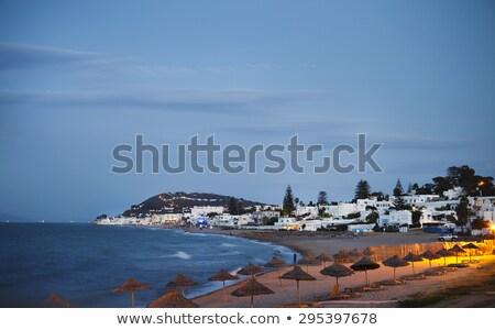 Noite ver praia Tunis Tunísia edifício Foto stock © dashapetrenko