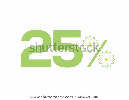 Mentés 25 százalék zöld vektor ikon Stock fotó © rizwanali3d