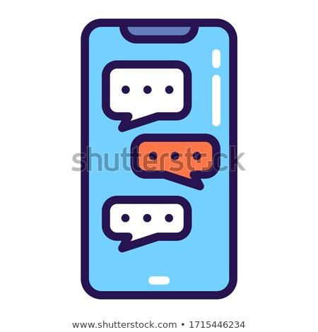 üres · szövegbuborék · okostelefon · vékony · vonal · ikon - stock fotó © RAStudio
