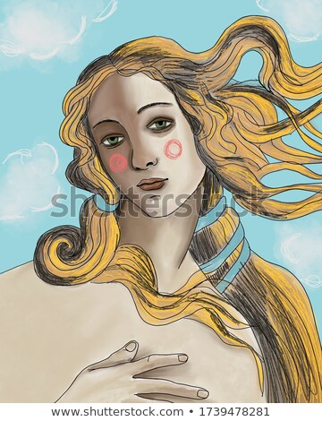 pop art illustration of girl with blonde hair stock photo © balasoiu