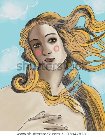 Pop art illusztráció lány szőke haj klasszikus hirdetés Stock fotó © balasoiu