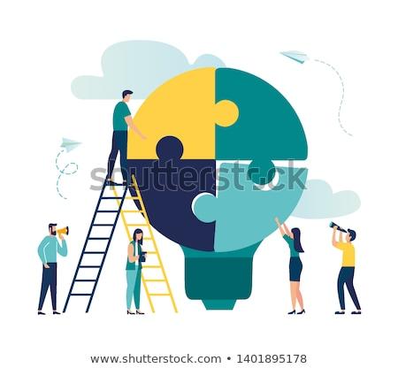 Stock fotó: üzleti · csapat · épület · puzzle · kirakó · darabok · együtt · férfi