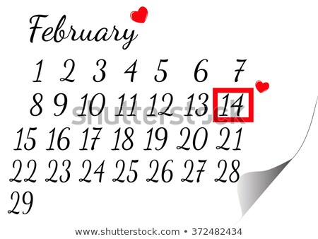 Photo stock: 14 · 2016 · saint · valentin · calendrier · illustration · vecteur