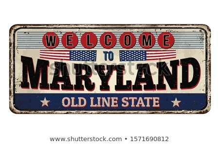 vintage rusty metal sign on a white background   welcome stock photo © zerbor