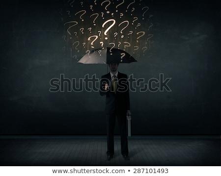 üzletember · esernyő · rajzolt · kérdőjelek · pénz · kéz - stock fotó © ra2studio