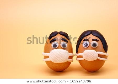 смешные пасхальных яиц Пасху цветок лист празднования Сток-фото © sognolucido